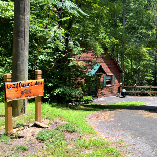 Lazy Bear Cabin w VRBO Sign